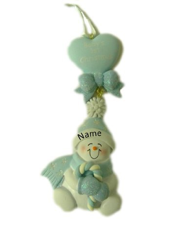Personalized Candy Cane Baby Blue Christmas Holiday Gift Expertly Handwritten Ornament by Rudolph and Me