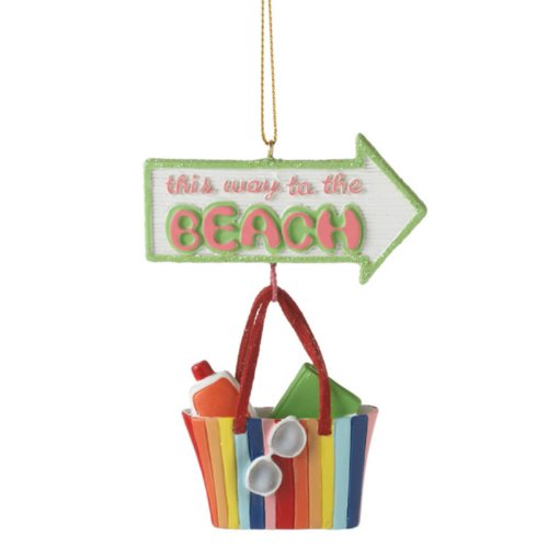 This Way to the Beach Beach Bag Christmas Ornament