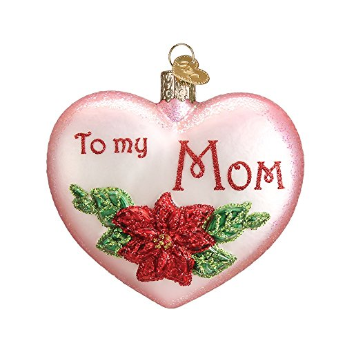 Old World Christmas Mom Heart Glass Blown Ornament