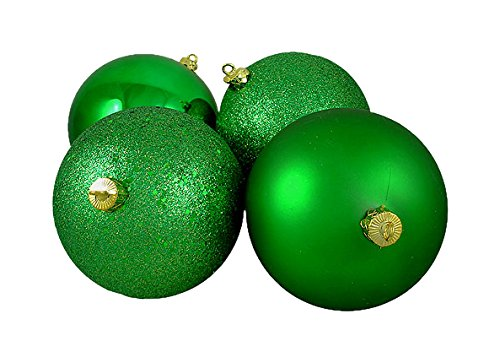 Northlight Seasonal 4 Count Xmas Green Shatterproof 4-Finish Christmas Ball Ornaments, 6″