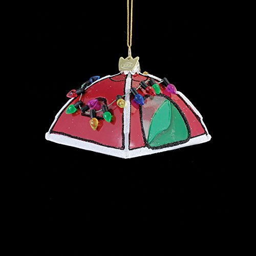 Kurt Adler 3″ Noble Gems Glass Camping Tent Ornament