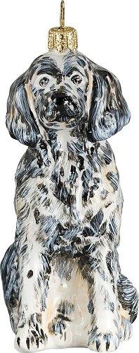 English Setter Dog Polish Blown Glass Christmas Ornament Decoration Made Poland