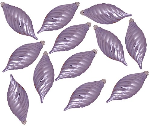 Vickerman Club Purple Lavender Shatterproof Finial Christmas Ornaments, 12 Pack, 4.75″