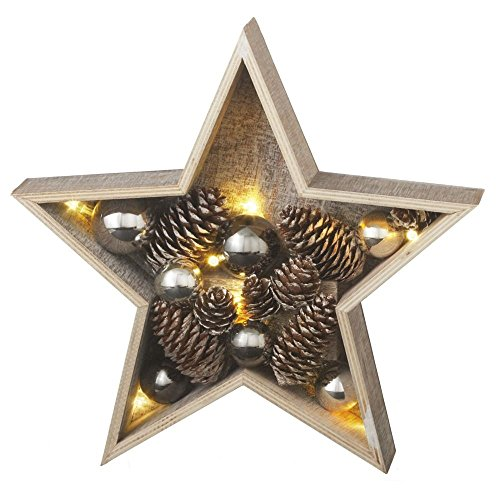 Lighted LED Star – Ornaments and Pine Cones – Illuminated Table Christmas Decoration – 11-in