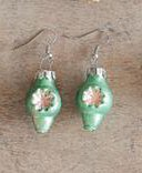 Mercury Glass Vintage Style Ornament Earring Set, Green Starburst
