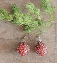 Mercury Glass Vintage Style Ornament Earring Set, Red Pinecone
