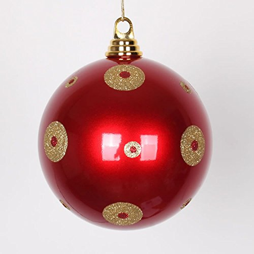 Vickerman Candy Apple Red with Gold Glitter Polka Dots Commercial Size Christmas Ball Ornament, 6″