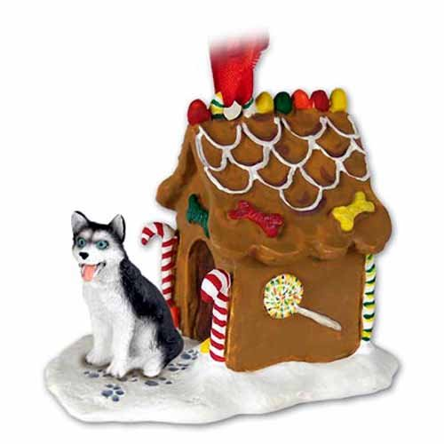 Siberian Husky Dogs Gingerbread House Christmas Ornament New Gift