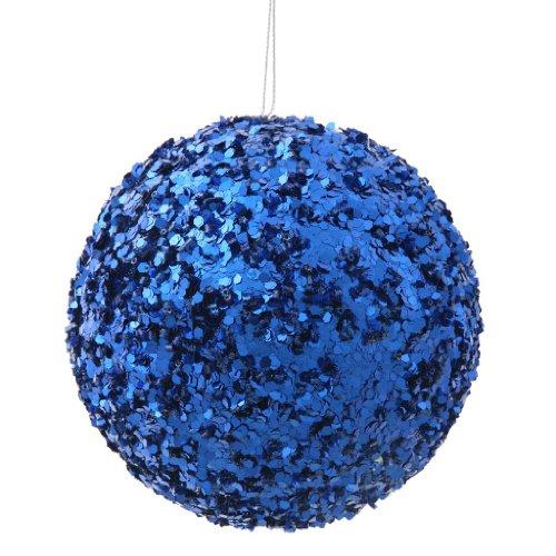 Vickerman 34118 – 4.75″ Blue Sparkle Sequin Kissing Ball Christmas Tree Ornament (P132302)