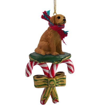 Golden Retriever Candy Cane Christmas Ornament by Conversation Concepts