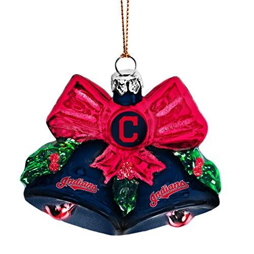 MLB Cleveland Indians Glitter Bells Ornament, Green, 3″ x 3″