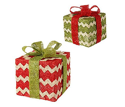 RAZ Imports – 9″ Lighted Christmas Presents (Set of 2)