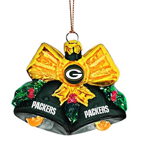 NFL Green Bay Packers Glitter Bells Ornament, Green, 3″ x 3″