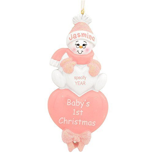 Personalized Baby's 1st Christmas Baby Hart/pink Ornaments by rudolph and me