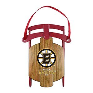 NHL Boston Bruins Metal Sled Ornament, 3.5″ Long, Brown