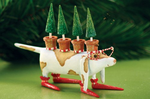 Patience Brewster Krinkles Tree Hound Dog Christmas Ornament