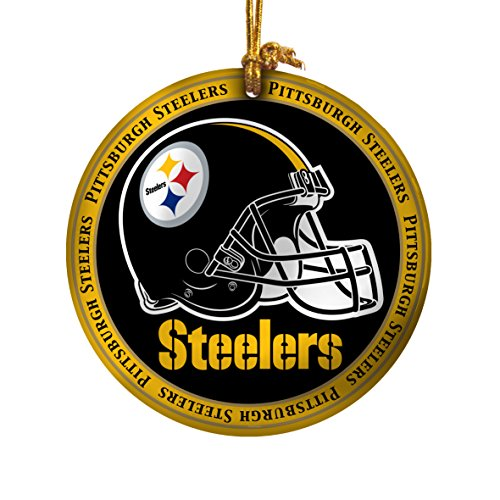 NFL Pittsburgh Steelers Ceramic Plate Ornament, Black, 2.25″