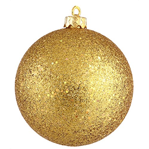 Vickerman Sequin Finish Christmas Ball Ornament Seamless Shatterproof with Drilled Cap, 10″, Antique Gold