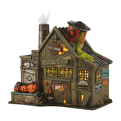 Department 56 Snow Village Halloween H-D Ghost Riders' Club Light House, 8.46″