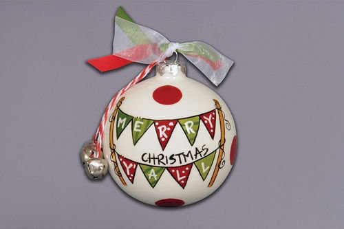 """""""Merry Christmas Y'all"""" Flags Ornament"""
