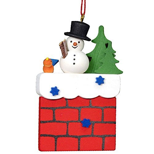 10-0409 – Christian Ulbricht Ornament – Snowman on Chimney – 3H x 2W x .75D by Alexander Taron Importer