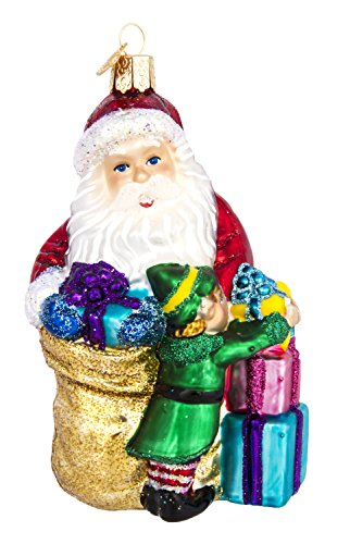 Old World Christmas – Santa's Bright-Eyed Buddy Ornament – Hand Painted Blown Glass – For Fake and Real Trees