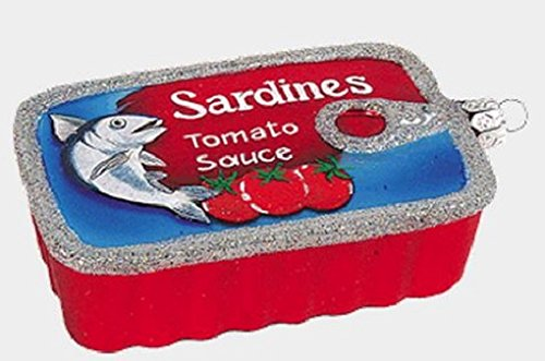 Can of Sardines Food Polish Mouth Blown Glass Christmas Ornament Decoration