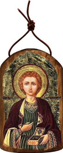 G. Debrekht Saint Panteleimon Icon Wooden Ornament
