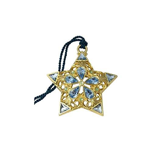 Gloria duchin filigree gold star with blue crystals