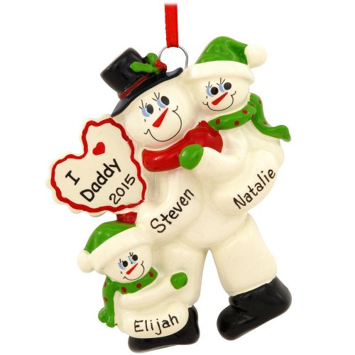 Daddy Snowman with 2 Children Ornament