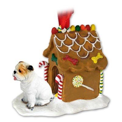 Bulldog White Ginger Bread House Ornament