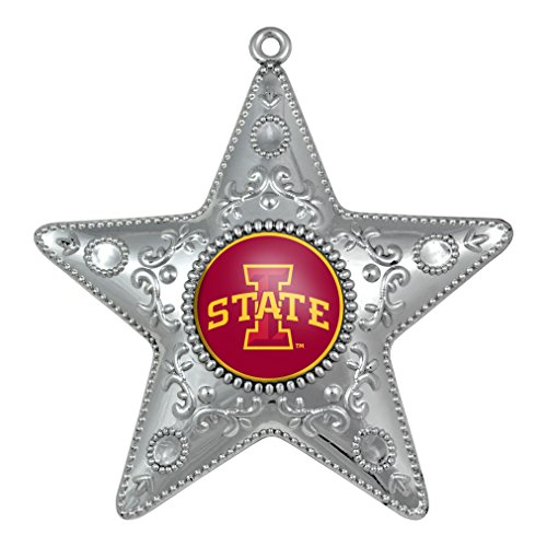 NCAA Iowa State Cyclones Silver Star Ornament, 4 inch