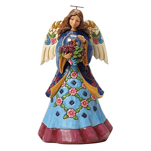 Jim Shore Angel with Flowers in Glass Figurine