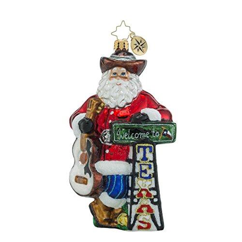 Christopher Radko Howdy Y'all Texas Themed Santa Glass Christmas Ornament – 6″h.