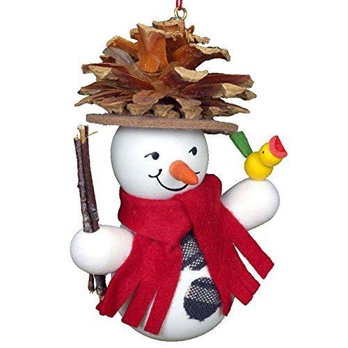 10-0201 – Christian Ulbricht Ornament – Snowman Wearing Pinecone Hat – 3.5H x 3W x 2D by Alexander Taron Importer
