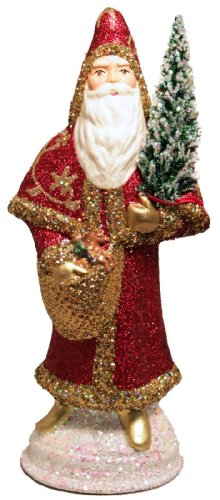 Ino Schaller Red and Gold Glitter Santa German Paper Mache Candy Container