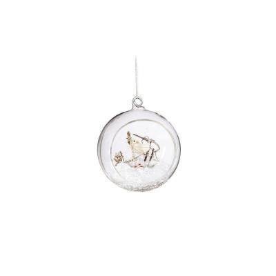 Martha Stewart Living 4.25 in. Winter White Bird Glass Ornament
