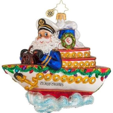 Christopher Radko Cruise Along with Clause Glass Christmas Ornament