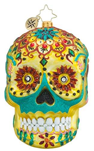 Christopher Radko La Calavera De Oro Day of the Dead Skull Glass Christmas Ornament