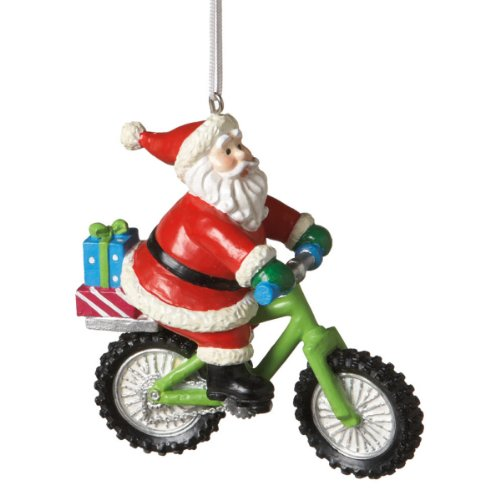 Santa on Mountain Bike Christmas Ornament