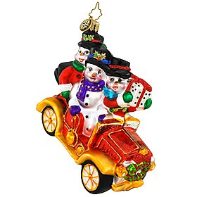 "Christopher Radko Christmas Ornament ""TRAVELIN' TRIO"" Snowmen in Car"