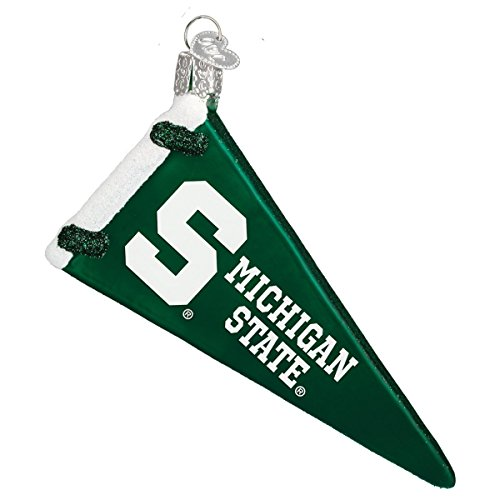 Old World Christmas Michigan State Pennant Glass Blown Ornament