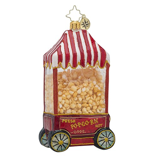 Christopher Radko Hot Pop PopCorn Machine Glass Christmas Ornament – 5″H