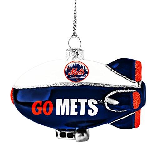 MLB New York Mets Glitter Blimp Ornament, Silver, 3″ x 2.25″