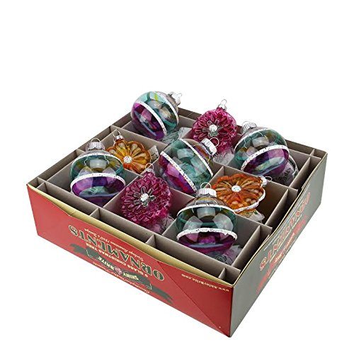 9ct Christopher Radko Shiny Brite Vintage Celebration Flowers & Glass Ball Christmas Ornaments 2.5″