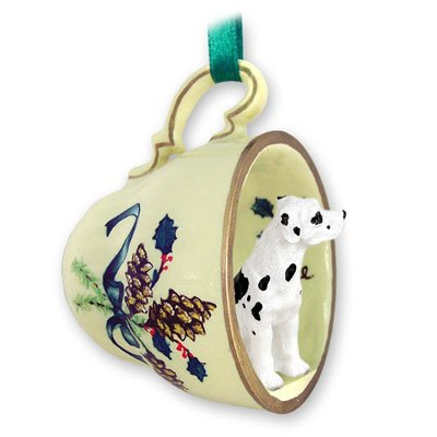 Great Dane Harlequin W/uncropped Ears Tea Cup Green Holiday Ornament