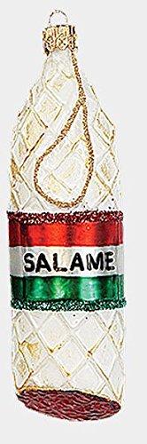 Italian Salami Salame Food Polish Mouth Blown Glass Christmas Ornament