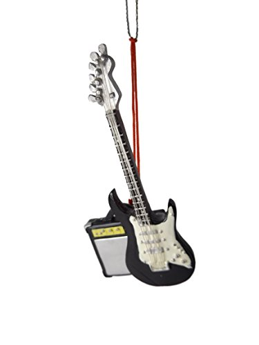 Electric Rock N' Roll Guitar Black White Amplifier Christmas Tree Ornament