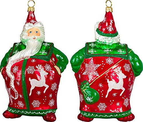 Glitterazzi Traditional Santa with Reindeer & Snowflakes Ornament by Joy to the World
