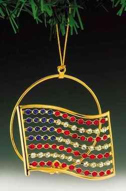 American Flag Gold Plated Swarovski Crystal Ornament